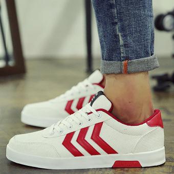 Kebugaran kasual baru musim semi pria sepatu putih yang datar sepatu sepatu sepatu (Putih dan merah)