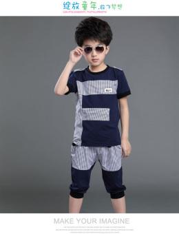 Kebugaran Korea Fashion Style katun anak laki-laki yang baru t-shirt (Biru