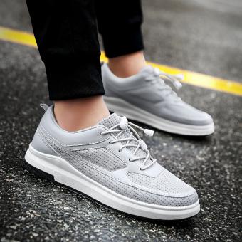 Jual Kebugaran Korea Fashion Style meningkat dalam pria jala sepatu jala sepatu sepatu (Abu-abu datar model) Murah