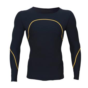 Kebugaran Lengan Panjang Kompresi Pakaian Musim Panas Pakaian Joging Legging Pakaian (C600 lengan panjang-garis kuning) (C600 lengan panjang-garis kuning)