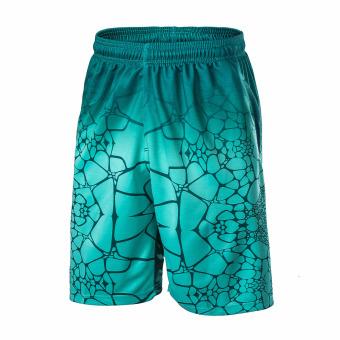 Beli Kebugaran lengan pendek pria lengan pendek tubuh mematung pakaian tiga potong dilengkapi pelatihan t-shirt (125 biru) Terpercaya