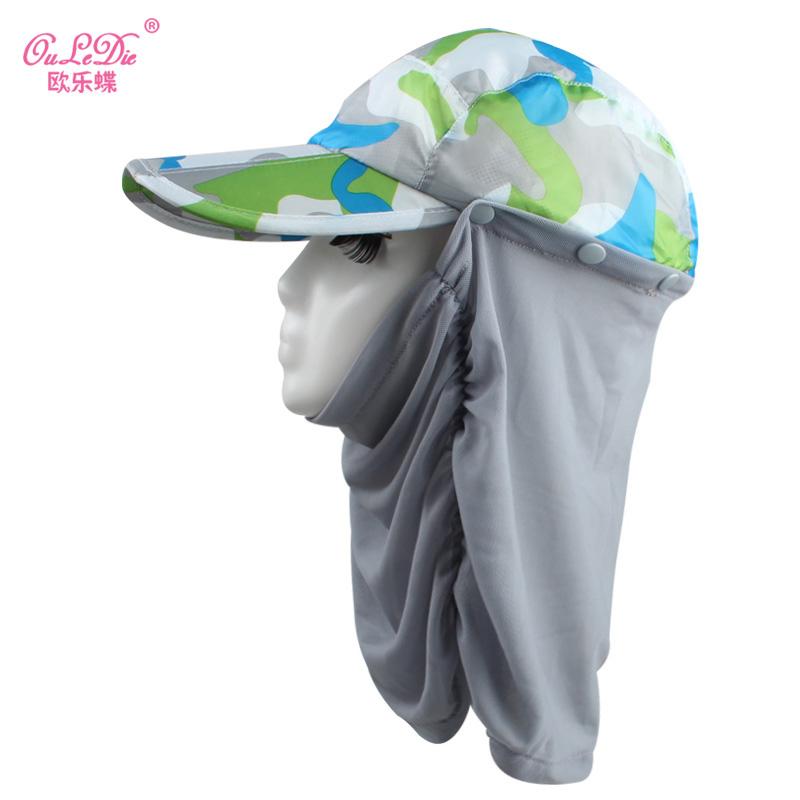 Kebugaran luar ruangan perlindungan leher topi matahari lipat matahari topi  topi (Model kamuflase abu- 85a2ec40bf