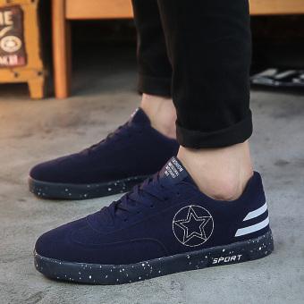 Harga Kebugaran musim gugur bernapas sepatu pria kasual pria sepatu (Biru tua)