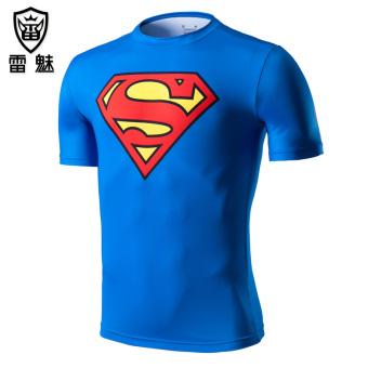 Kebugaran pria lengan pendek kebugaran pakaian laki-laki cepat kering pakaian legging pakaian (Keluarga kerajaan Superman 21)