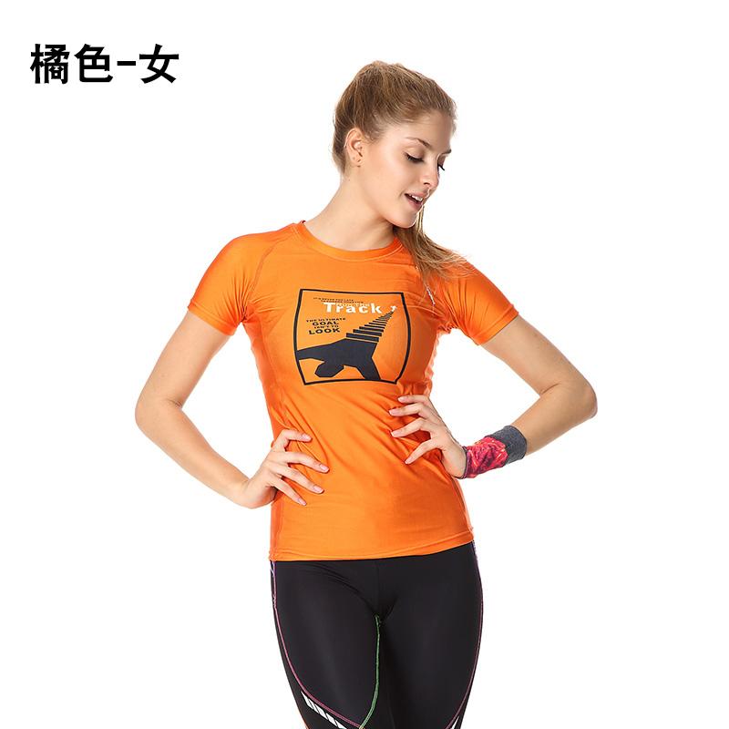 Kebugaran untuk pria dan wanita legging leher bulat pelatihan lengan pendek cepat kering pakaian t-