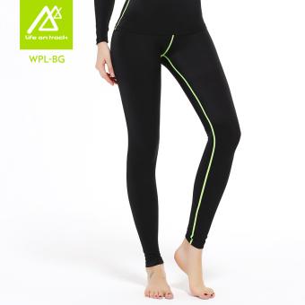 Gambar Kebugaran Wanita Legging Pakaian (WPL BG jalur hijau celana panjang) (WPL BG