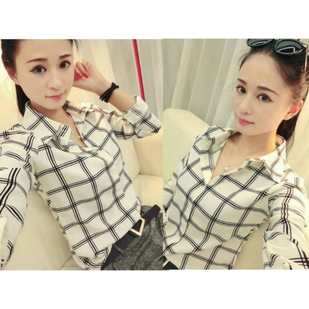 Kedaibaju Atasan Wanita Blouse Murah Kemeja Yuumi Hitam Update Baju  A330 Flash Sale Kedai Yumi Putih