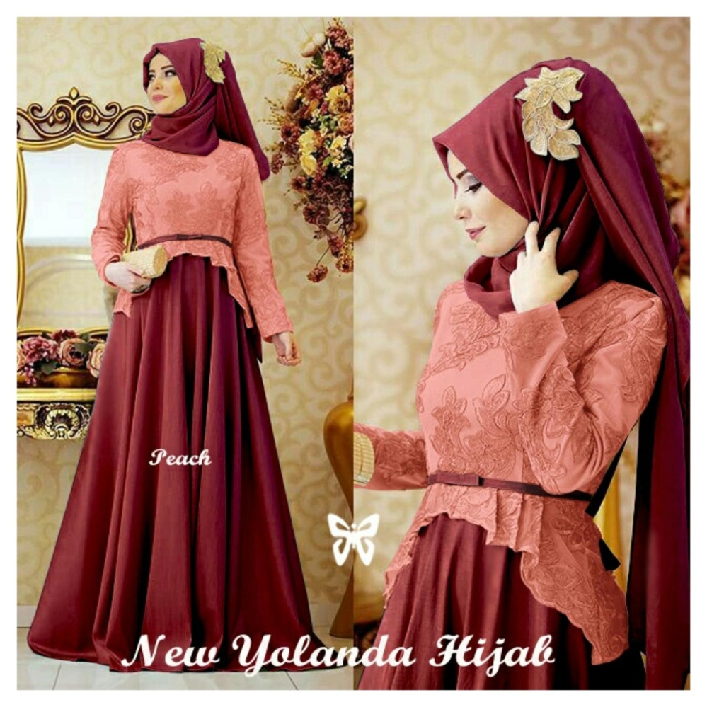 Flash Sale Kedai_Baju Pakaian Muslim / Baju Muslim Murah Syari Hijab / GamisYolanda Peach