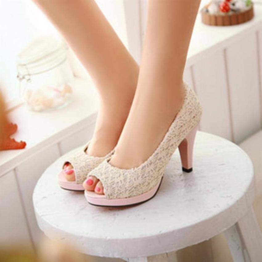 KEKE SHOES-Sepatu Sandal High Heels Wanita Pantofel Brukat SDH28