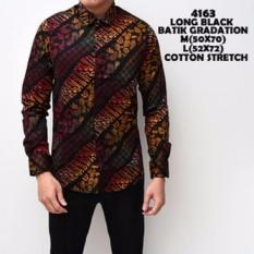 Kemeja Batik Pria Gradation Black Panjang Slimfit Katun / Baju Batik
