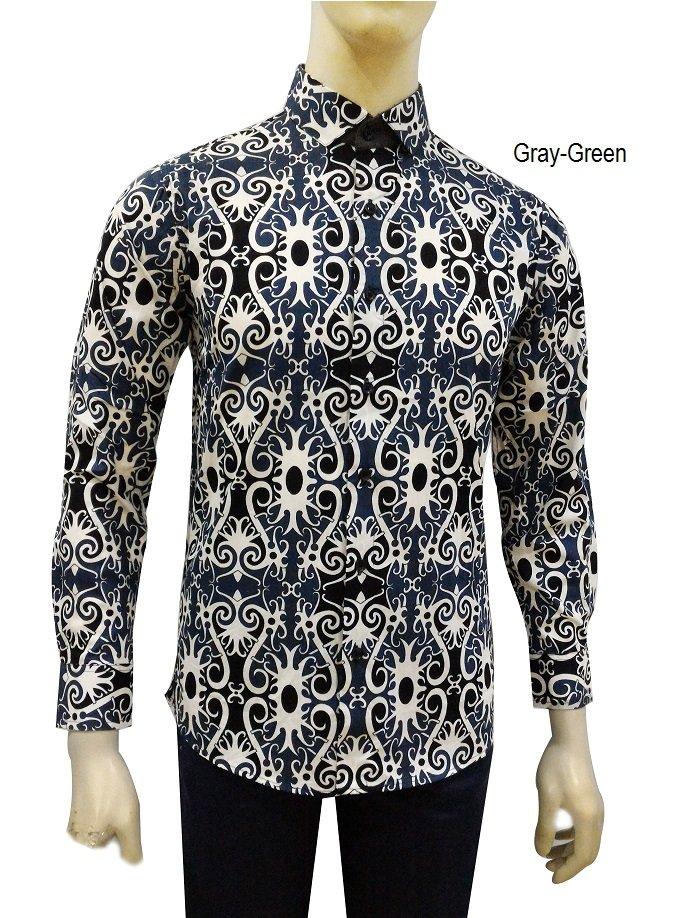 Kemeja Batik Slimfit Pria BWS007 Kombinasi Muslim Koko Jeans