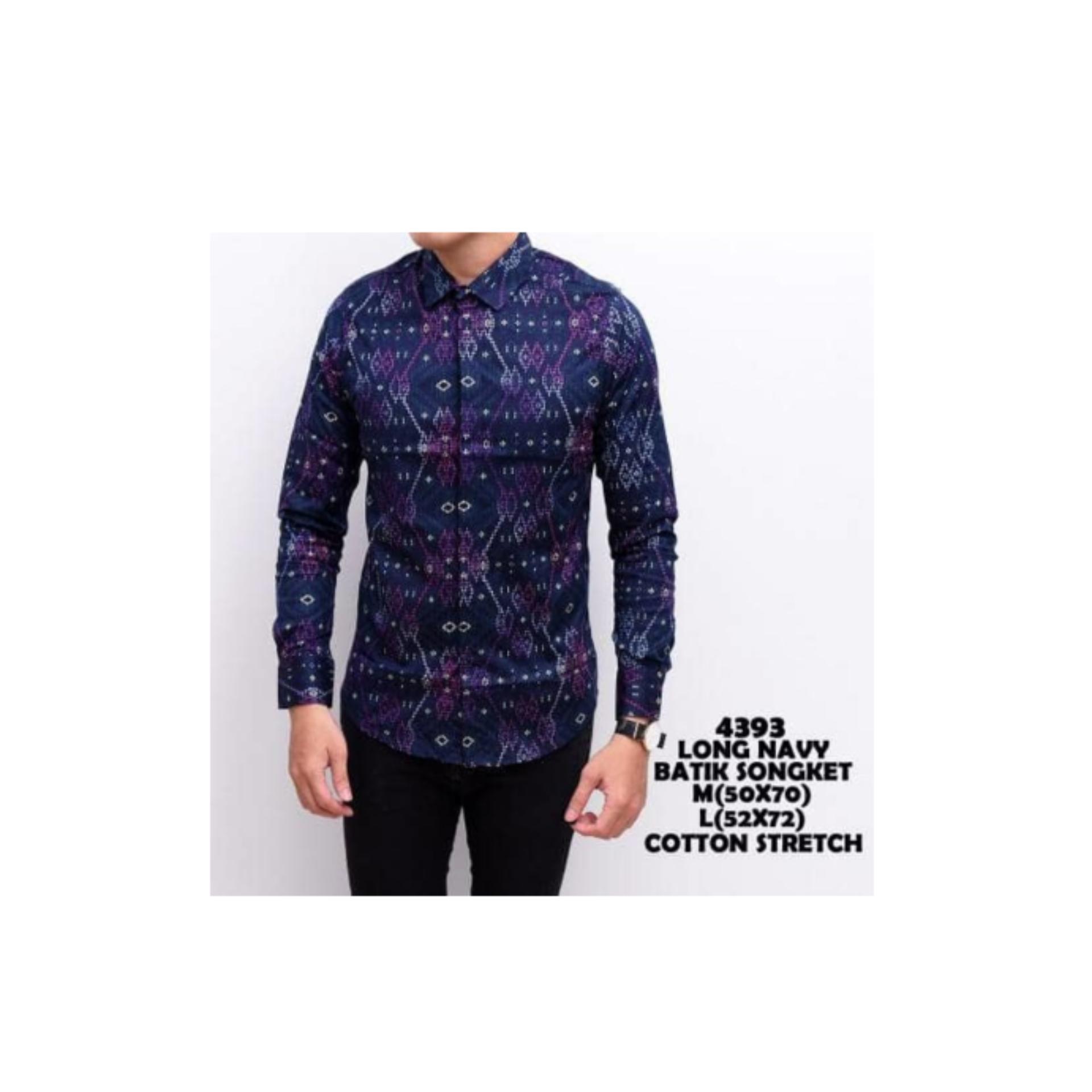 Kemeja Batik Songket Pria Panjang Kerja Kantor Slimfit / Baju Batik .