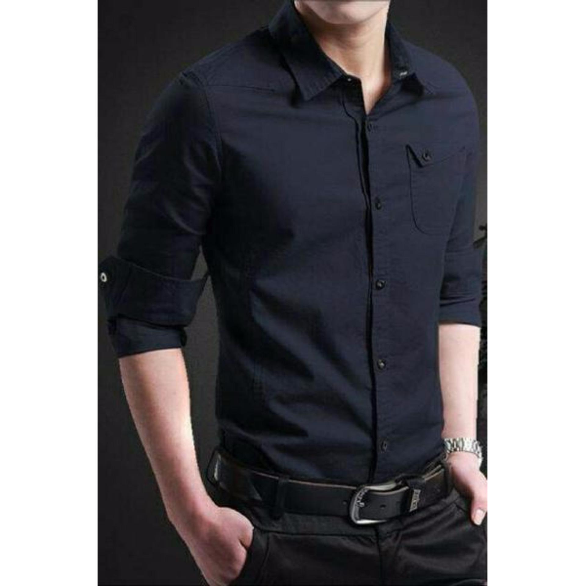 Kemeja Kerja Untuk Pria Model Lengan Panjang Slim Fit Hitam Harga Flanel Slimfit Modern Dark Arthur Xl Flash Sale