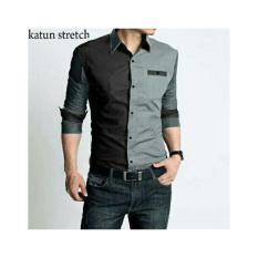 kemeja pria kerja kantor formal warna grey lengan panjang modelkorea slimfit trendy / kemeja pria distro