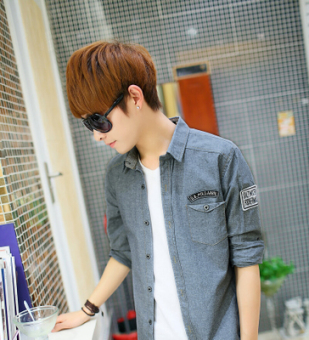 Kemeja Pria Model Tipis Jeans Warna Polos Lengan Panjang Membentuk Tubuh Versi Korea (Lengan panjang