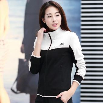 Beli Kerah kemeja cardigan kebugaran pakaian wanita olahraga pakaian (Putih  hitam (B7886 jas)) Online 8980201785