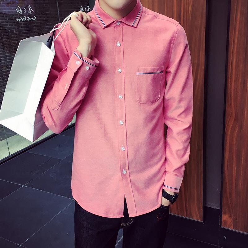Flash Sale Kerah persegi pasang warna solid remaja Slim kemeja ukuran besar kemeja (Merah muda)