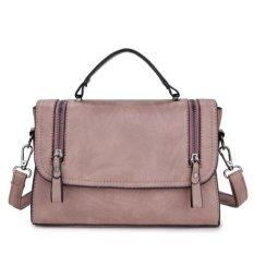 KGS Tas Selempang Wanita Casual Wanita Impor Two Zippers Satchel Bag - Pink