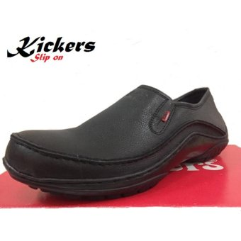 harga Kickers Sepatu Slip on Boots Pria Kulit Asli - kulit Jeruk Black Lazada.co.id