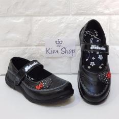 Kim Sepatu Sekolah Anak Perempuan KB020 Motif Boneka Random - Hitam