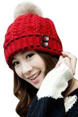 Klasik Toprank erat rajutan topi bulu topi musim dingin wanita Beanie ikat kepala Bulang kepala lebih