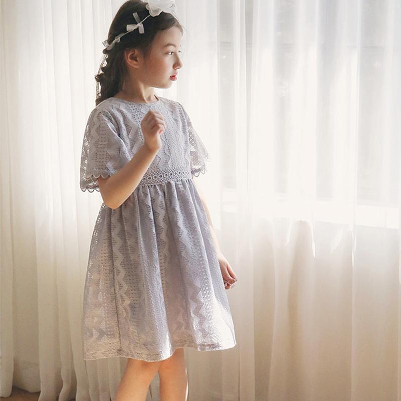 Flash Sale Korea Fashion Style baru jumpsuit gadis rok anak renda gaun putri (Abu-