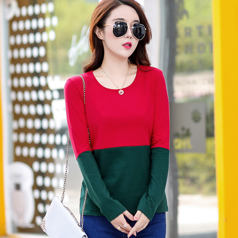 Flash Sale Korea Fashion Style baru musim gugur Slim lengan panjang t-shirt (Merah