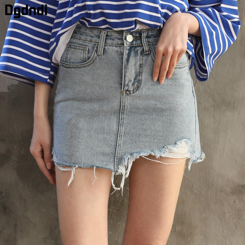 Korea Fashion Style Burr kata paket rok rok hip pinggang tinggi rok denim Biru