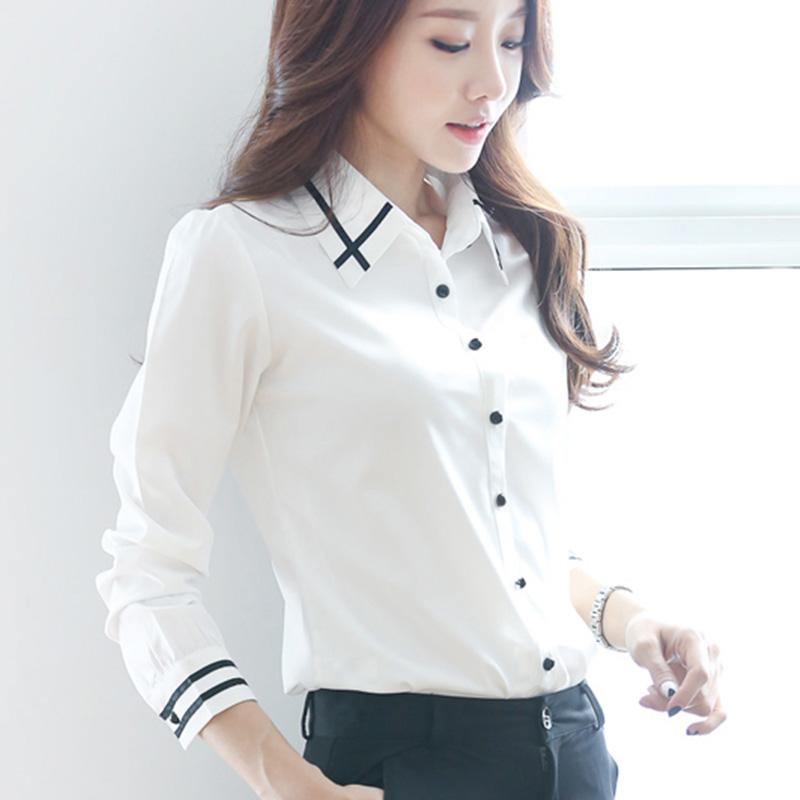 Flash Sale Korea Fashion Style ditambah beludru perempuan lengan panjang kemeja putih Slim baju kemeja (Putih [tidak] ditambah beludru)
