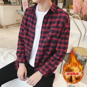 Perbandingan harga Korea Fashion Style ditambah beludru pria kemeja lengan panjang yang hangat baju kemeja (