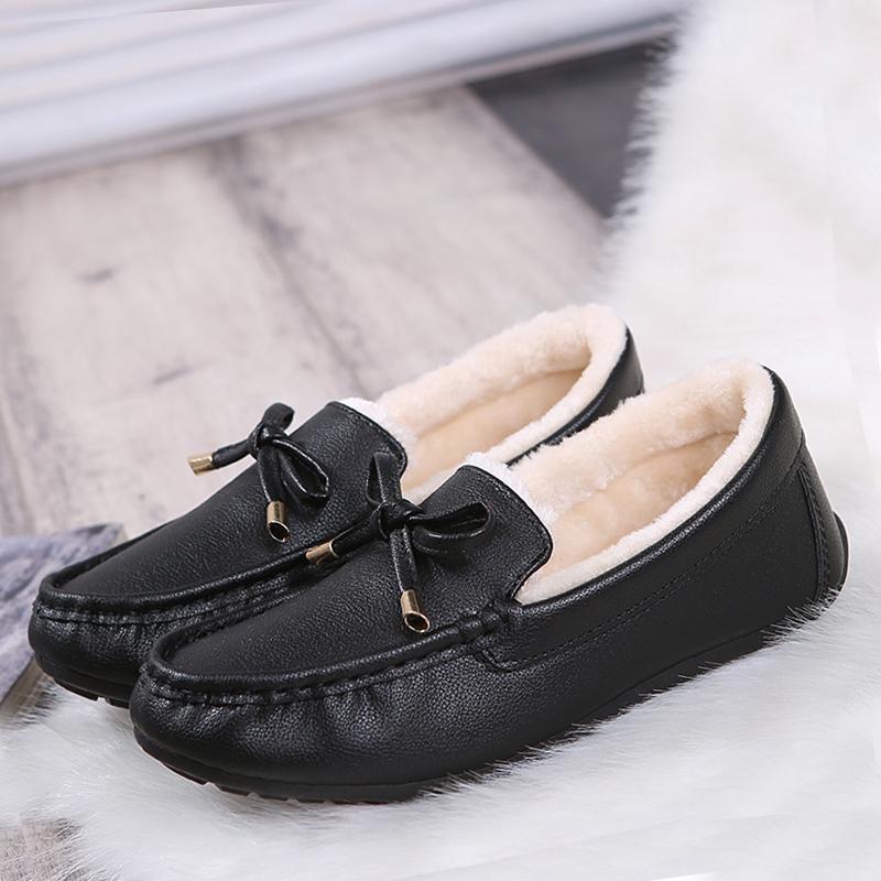 Korea Fashion Style ditambah beludru tebal hangat wanita hamil sepatu sepatu Peas sepatu .