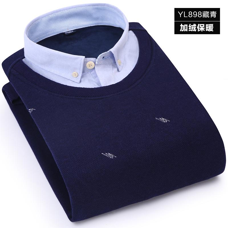 Korea Fashion Style ditambah beludru tebal kasual kemeja merajut kemeja lengan panjang yang hangat baju kemeja