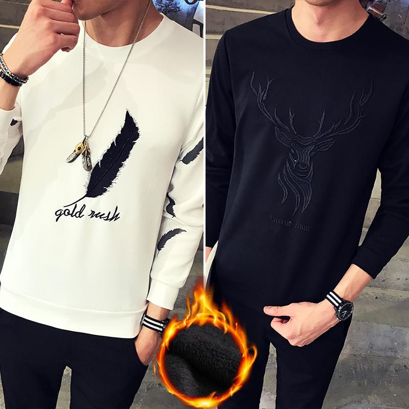 Korea Fashion Style ditambah beludru tebal musim gugur pria sweater t-shirt (862 putih