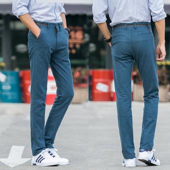Jual Korea Fashion Style Hitam Laki Laki Slim Pria Celana Pria Lurus Celana Kasual Sky Blue Di