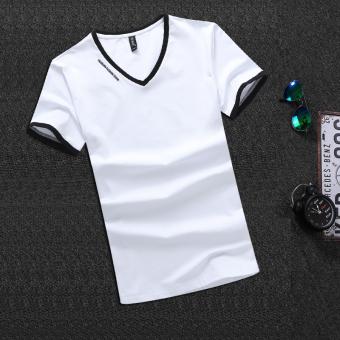 Gambar Korea Fashion Style Katun Lengan Pendek V neck T shirt (V neck huruf model