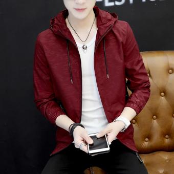 Harga Korea Fashion Style laki-laki muda berkerudung kebugaran mantel jaket pria (Anggur merah)