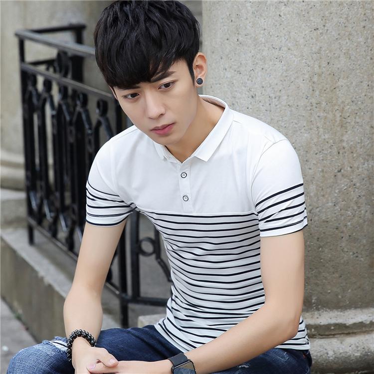 Korea Fashion Style Lengan Pendek Polo Kemeja Kerah Slim T-shirt (Biru NAVY)