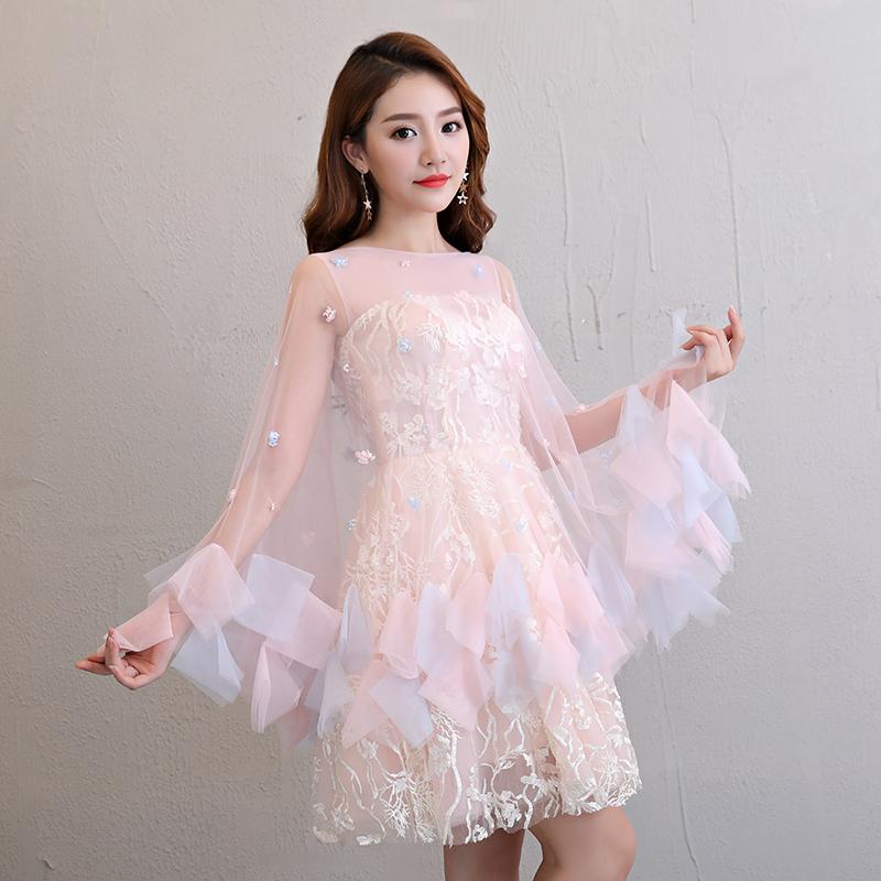 Korea Fashion Style Merah Muda Perempuan Baru Pengiring Pengantin Gaun Kecil Gaun Malam (Merah Muda