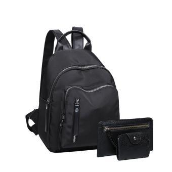murah korea fashion style nilon perempuan baru tas sekolah tas ransel terompet hitam tiga potong harga diskon rp 121.000 beli sekarang