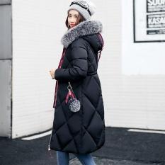 Korea Fashion Style perempuan bagian panjang baru mantel empuk (Hitam)