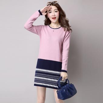 Pencari Harga Korea Fashion Style perempuan lengan panjang leher bulat Slim sweater dress .