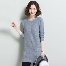 Korea Fashion Style perempuan setengah kerah tinggi LOOESN merajut kemeja bottoming kemeja (Leher bulat abu