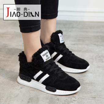 DISKON Korea Fashion Style perempuan siswa sepatu running sepatu wanita (Hitam [Kulit rambut asli]) TERPOPULER