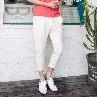 Jual Korea Fashion Style Pria Celana Kaki Tipis Celana Pakaian Pria Kasual Celana Celana Putih
