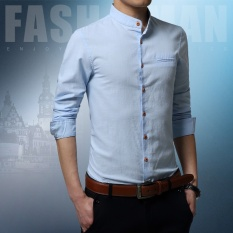 Korea Fashion Style Pria Lengan Pendek Slim Kemeja Kerah Kemeja Stand-Up Kemeja Putih (