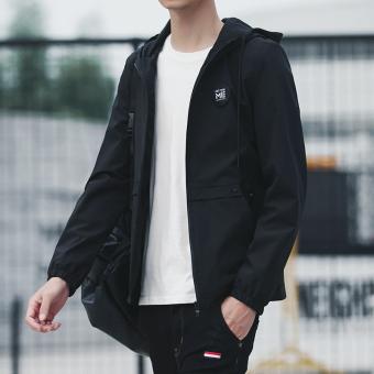 Beli Korea Fashion Style pria musim panas kebugaran jaket perlindungan matahari pakaian (Hitam) Terpercaya