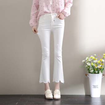 Hot Deals Korea Fashion Style putih musim gugur pinggang tinggi baru berkobar celana yang celana jeans