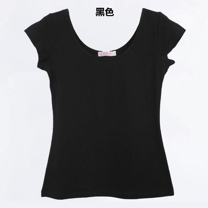 Cheap online Korea Fashion Style Slim besar kerah liar bottoming kemeja lengan pendek t-shirt (Hitam) (Hitam)