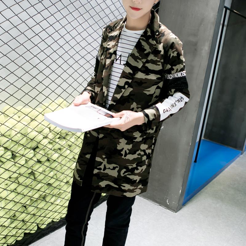 Korea Fashion Style Slim pencetakan muda Shishang jas mantel (Yang mendalam kamuflase)