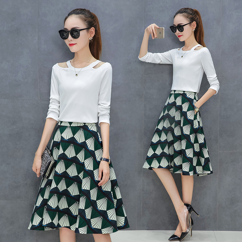 Flash Sale Korea perempuan bagian panjang baru rok ayunan besar gaun (Hijau) a5deb657f2